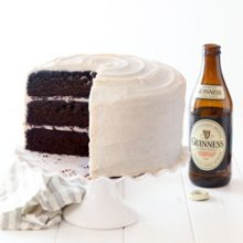 Moist Guinness chocolate layer cake with creamy brown sugar cinnamon cream cheese frosting recipe from @bakedbyrachel