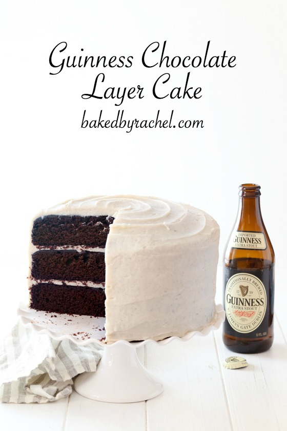 Moist Guinness chocolate layer cake with creamy brown sugar cinnamon cream cheese frosting recipe from @bakedbyrachel