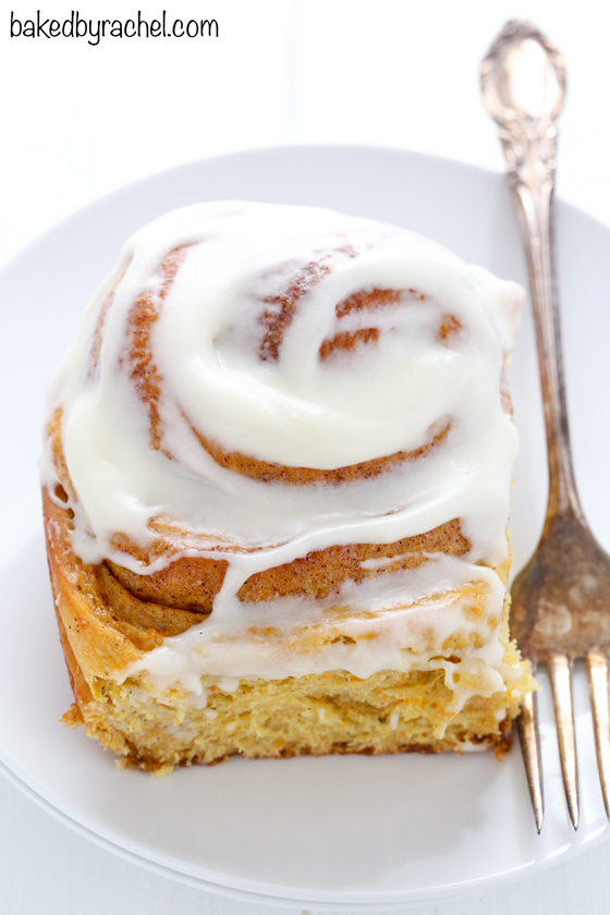 Fluffy homemade carrot cake cinnamon rolls with cream cheese icing recipe from @bakedbyrachel