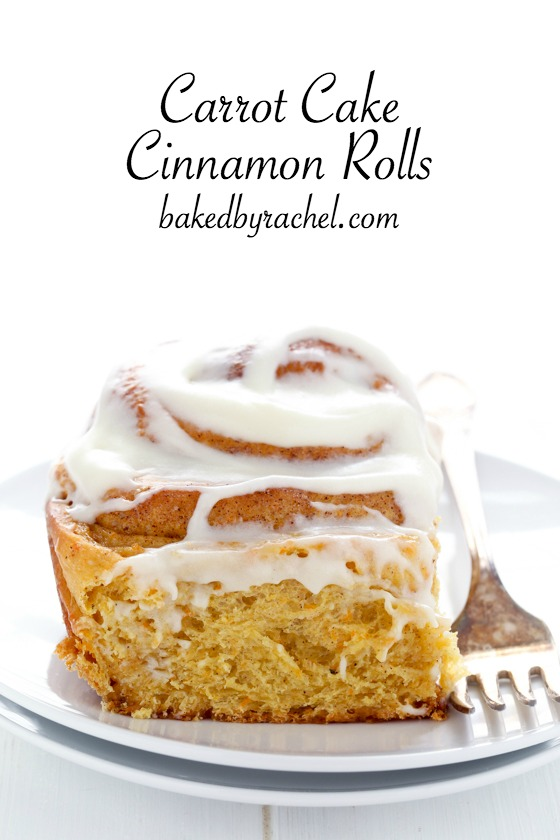 Fluffy homemade carrot cake cinnamon rolls with cream cheese icing. A ...