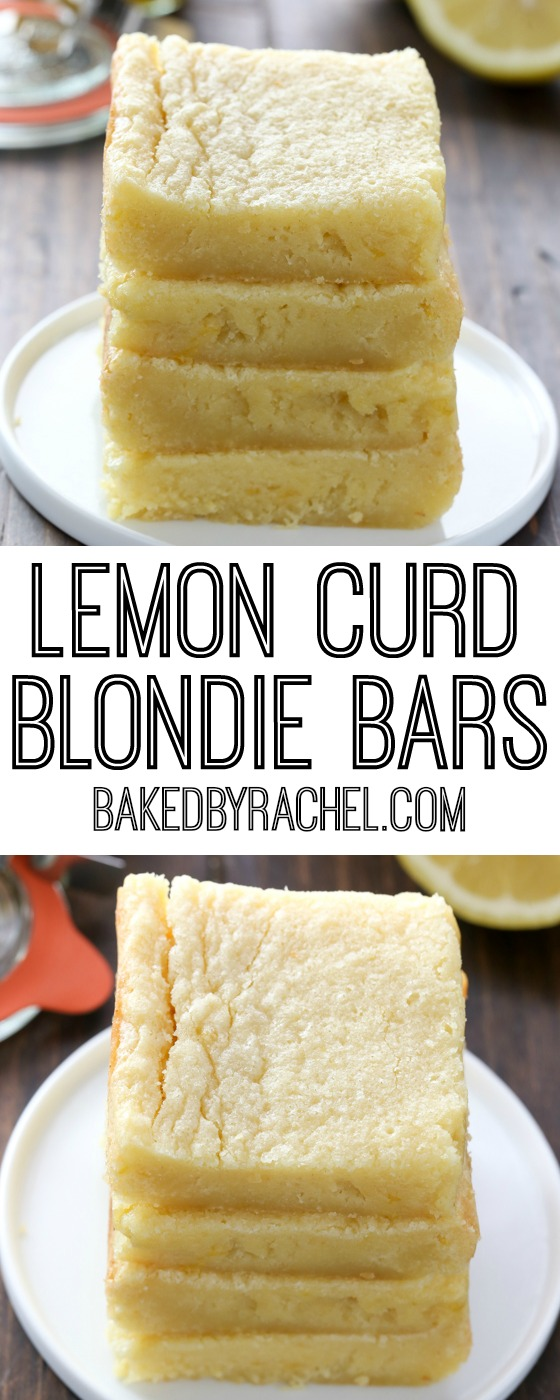 Soft and gooey homemade lemon curd blondie bar recipe from @bakedbyrachel