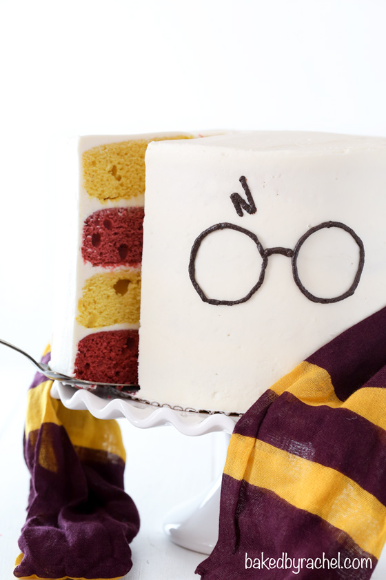 Harry Potter themed layer cake with fluffy vanilla buttercream frosting recipe from @bakedbyrachel. A fun birthday or celebration cake for any Harry Potter fan!