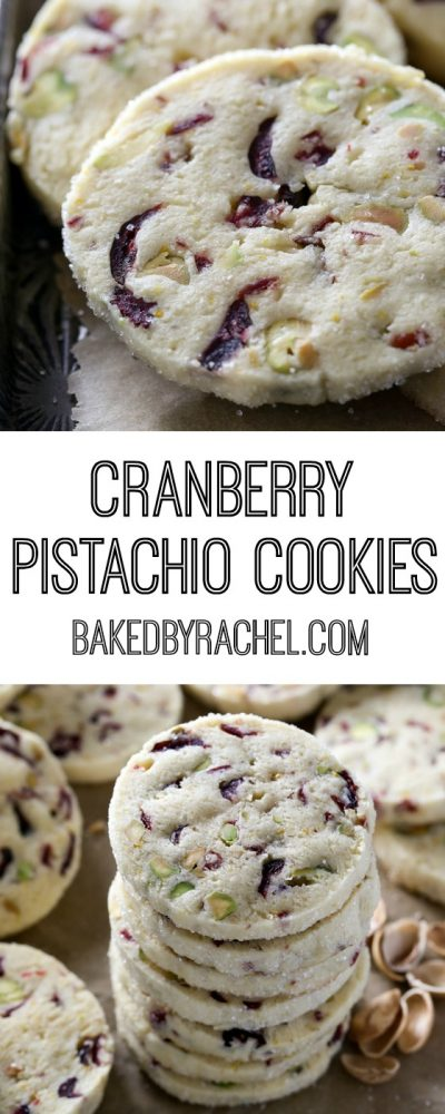 Light and flavorful cranberry pistachio cookie recipe from @bakedbyrachel
