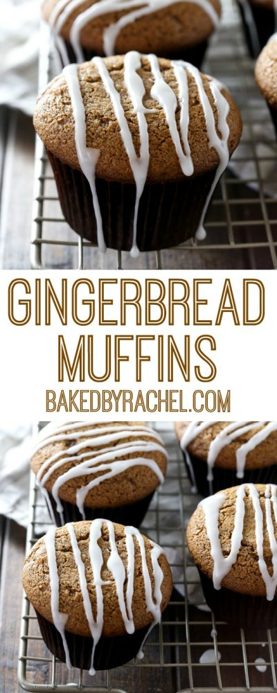 Moist gingerbread muffins with a sweet vanilla glaze. Recipe from @bakedbyrachel