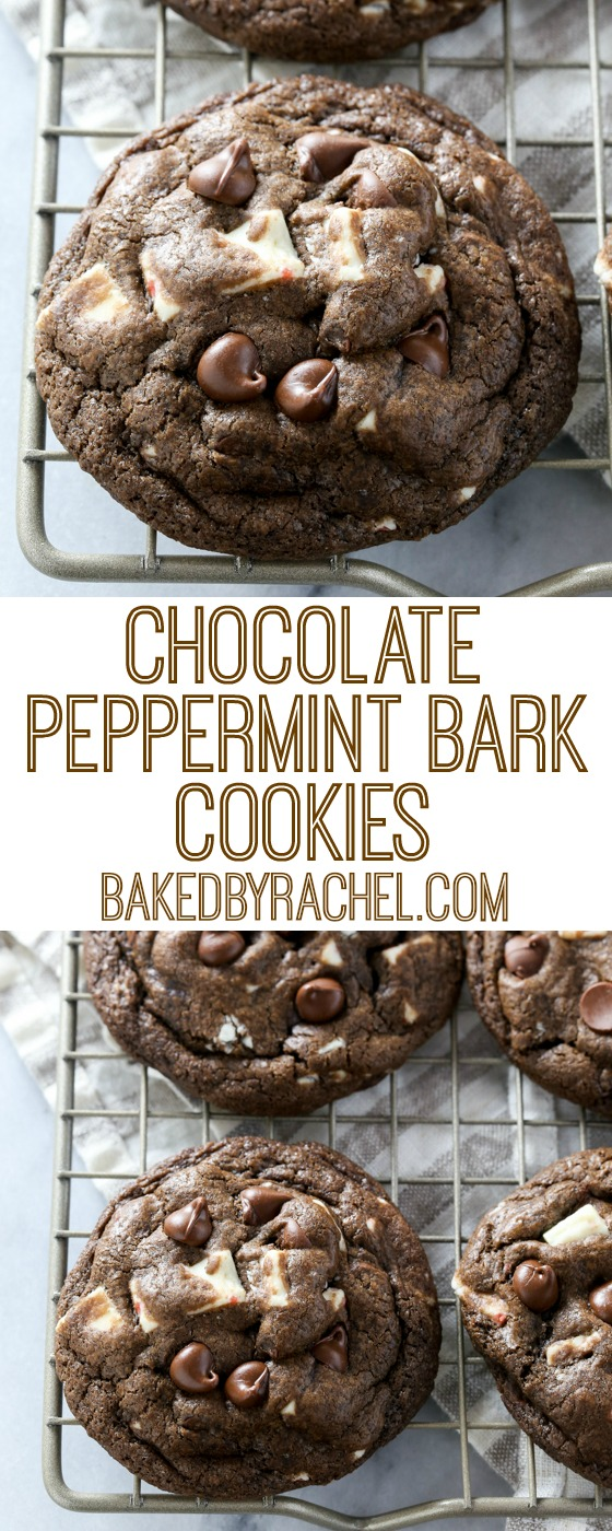 Soft and chewy triple chocolate peppermint bark cookie recipe from @bakedbyrachel