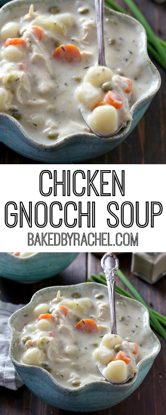 Slow cooker creamy chicken gnocchi soup recipe from @bakedbyrachel