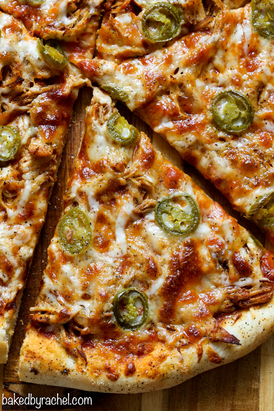 Spicy chicken and jalapeo pizza baked by rachel easy homemade thin crust three cheese spicy chicken and jalapeo pizza recipe from bakedbyrachel forumfinder Images