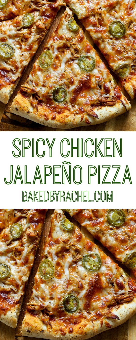 Easy homemade thin crust three cheese spicy chicken and jalapeño pizza recipe from @bakedbyrachel
