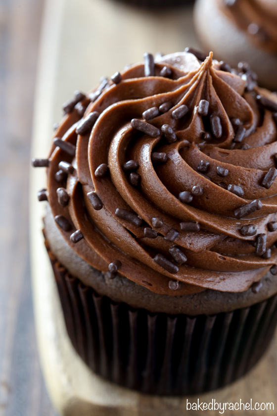 Moist chocolate cupcakes with chocolate cream cheese frosting recipe from @bakedbyrachel