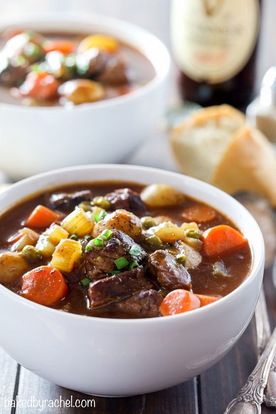 Slow cooker Guinness Irish beef stew recipe from @bakedbyrachel