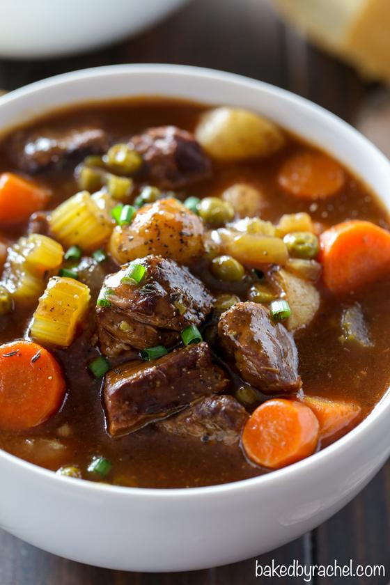 Slow cooker Guinness Irish beef stew recipe from @bakedbyrachel