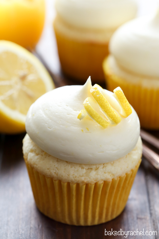 Lemon cupcakes with lemon cream cheese frosting recipe from @bakedbyrachel