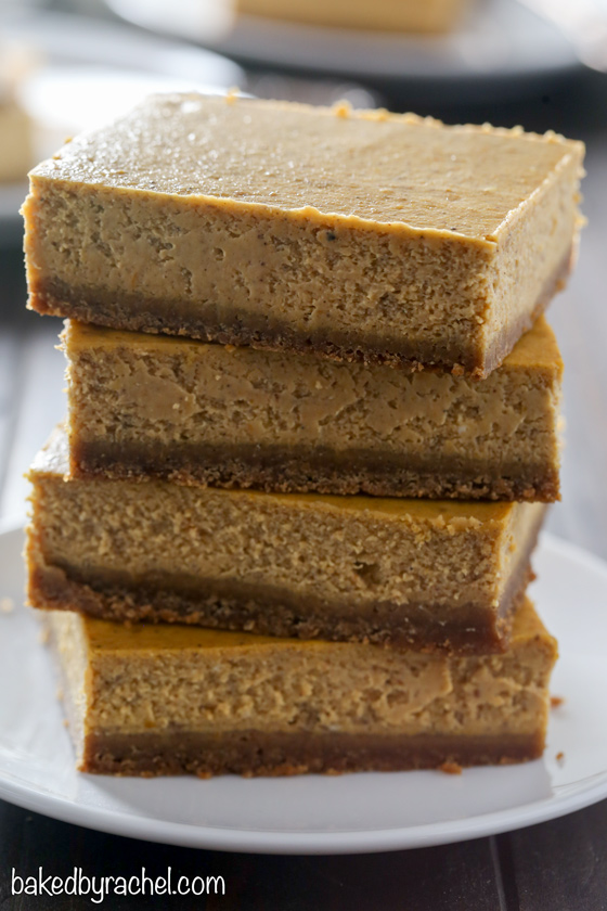 Creamy homemade pumpkin pie cheesecake bar recipe from @bakedbyrachel