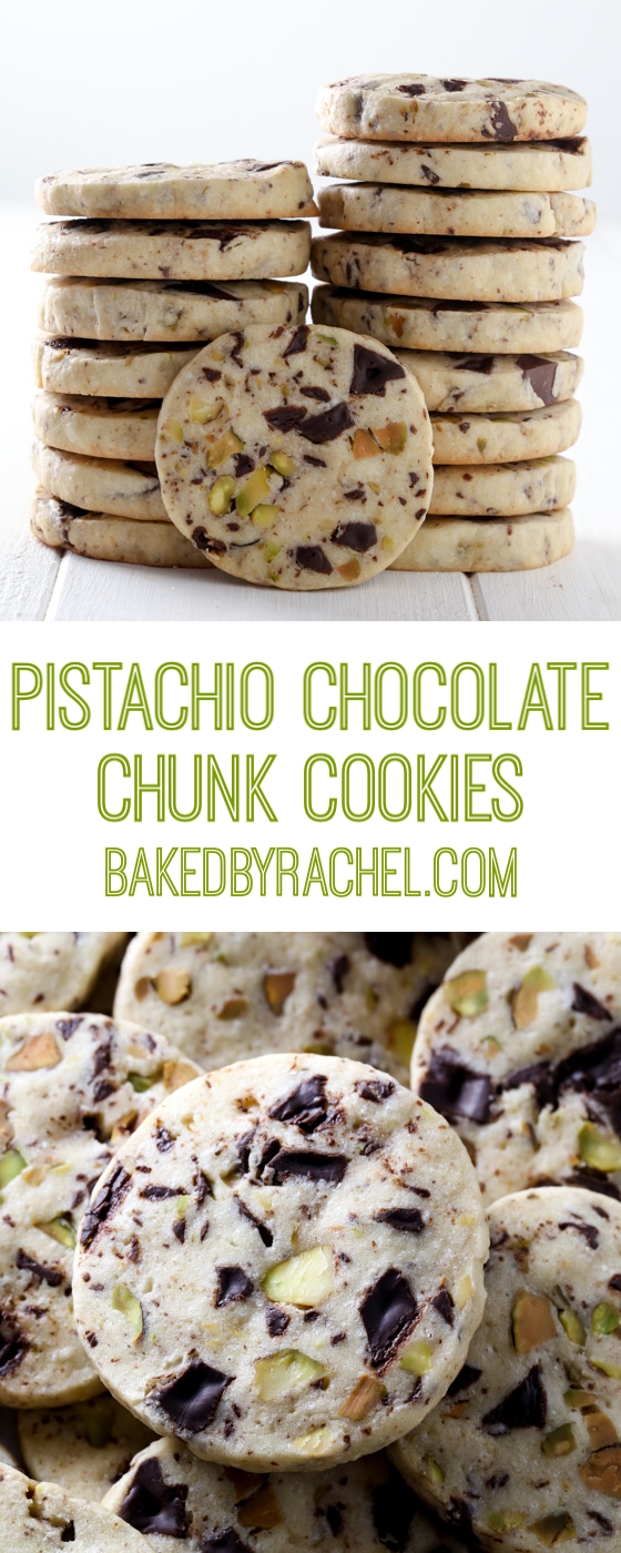 Slice and bake pistachio chocolate chunk cookies recipe from @bakedbyrachel