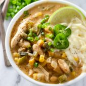 Hearty slow cooker white bean chicken chili recipe from @bakedbyrachel