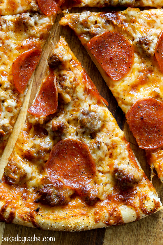 Easy thin crust three cheese spicy sausage and pepperoni pizza recipe from @bakedbyrachel