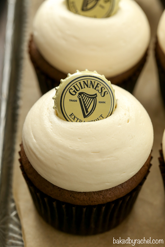 Moist homemade Guinness chocolate cupcakes with creamy Baileys brown sugar cream cheese frosting recipe from @bakedbyrachel A must make for St Patrick's day celebrations!