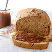 Easy homemade moist cinnamon apple butter bread recipe from @bakedbyrachel. A perfect Fall quick-bread recipe, packed full of amazing flavors!