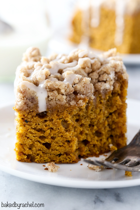 Moist cinnamon streusel pumpkin coffee cake recipe from @bakedbyrachel