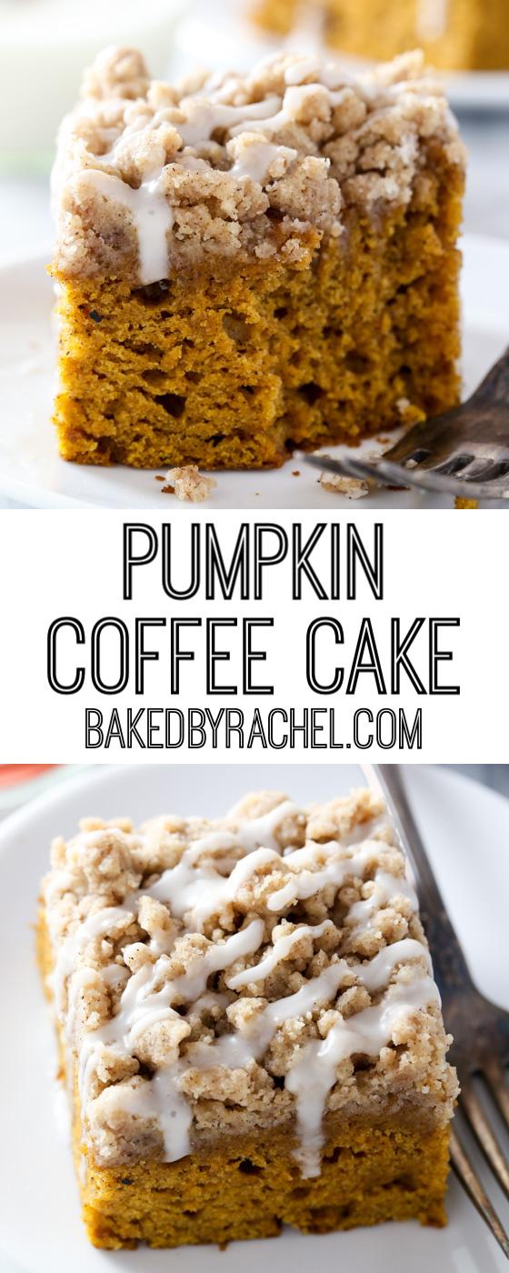 Moist cinnamon streusel pumpkin coffee cake recipe from @bakedbyrachel