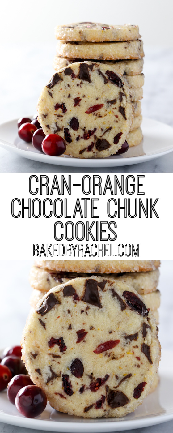 Light and flavorful slice and bake cranberry-orange chocolate chunk cookie recipe from @bakedbyrachel A fun seasonal cookie with a festive pop of color and flavor!