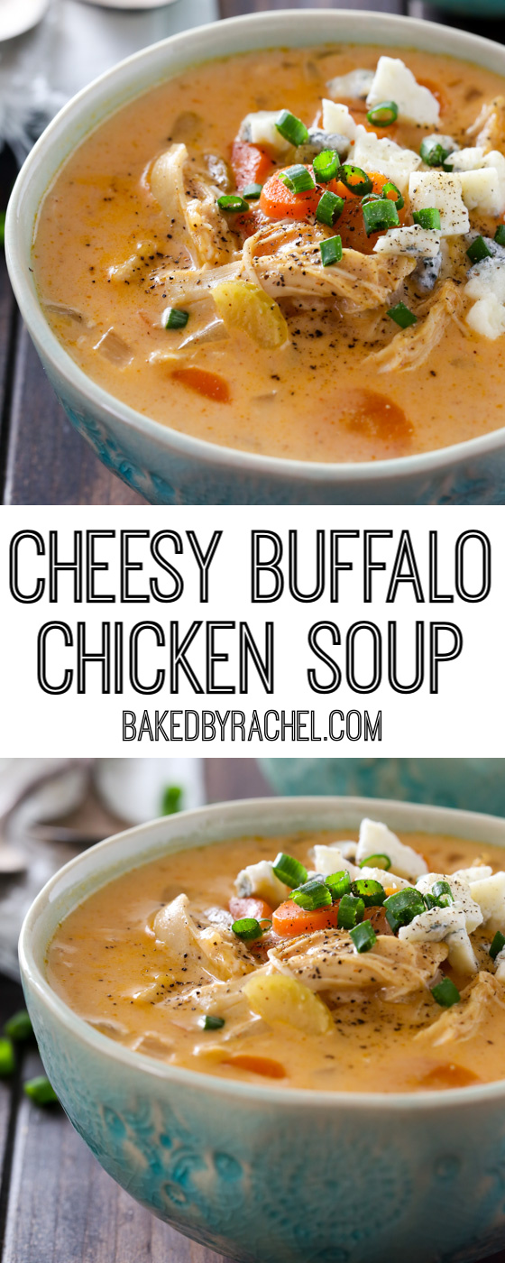 Easy slow cooker cheesy buffalo chicken soup recipe from @bakedbyrachel A flavorful and comforting meal, with a spicy kick.