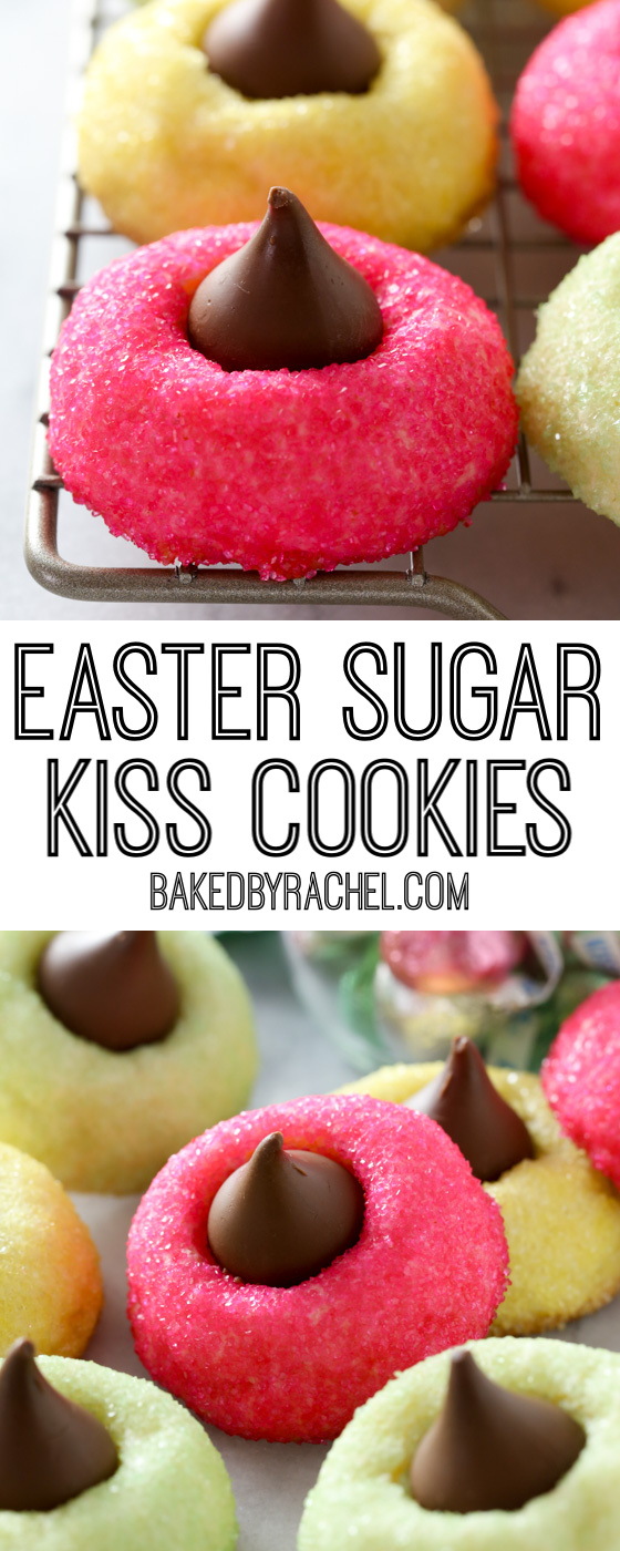 Soft and fluffy homemade Easter sugar Kiss cookie recipe from @bakedbyrachel A fun and festive peanut-free treat for any spring occasion!