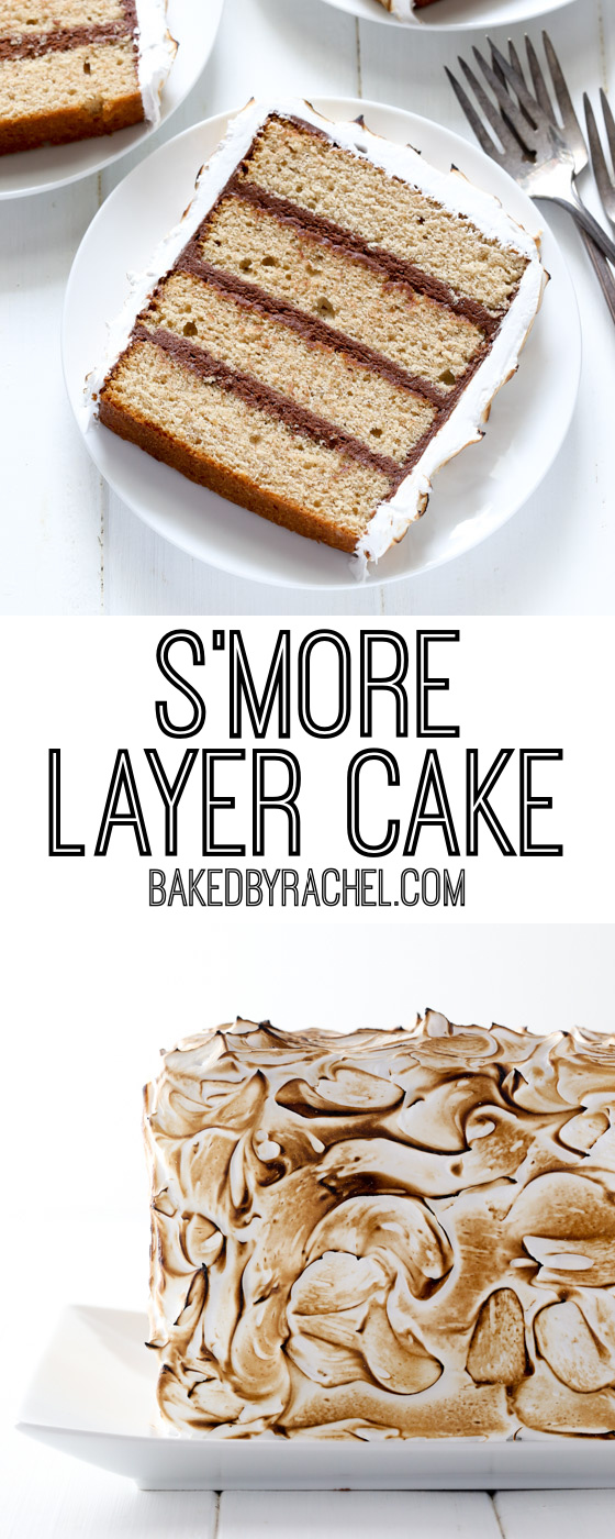 Collage image of s'more layer cake.