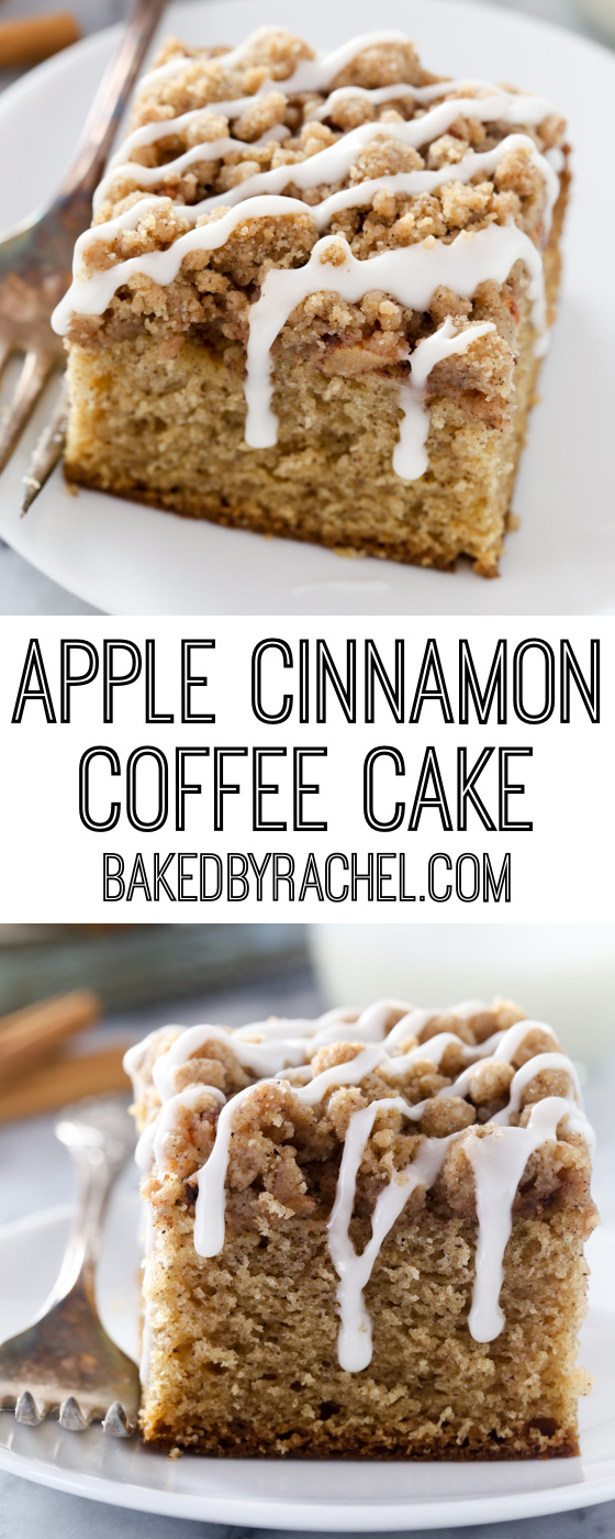 Collage image of apple coffee cake