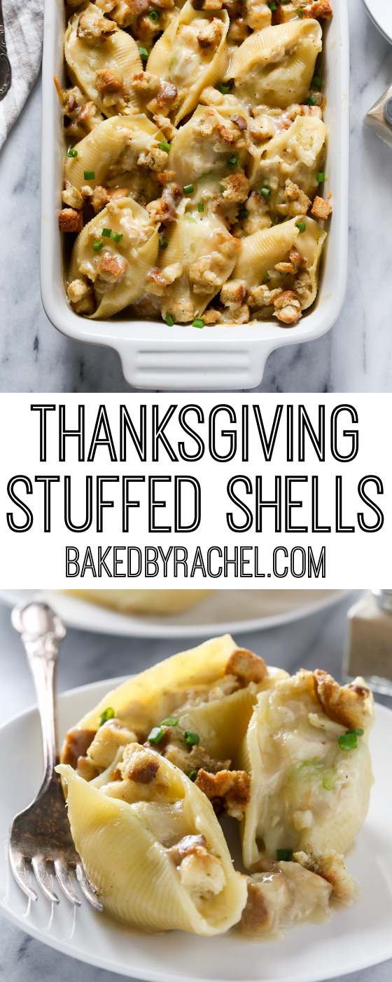 Thanksgiving leftover turkey stuffed shells recipe from @bakedbyrachel A fun and flavorful twist on holiday leftovers!