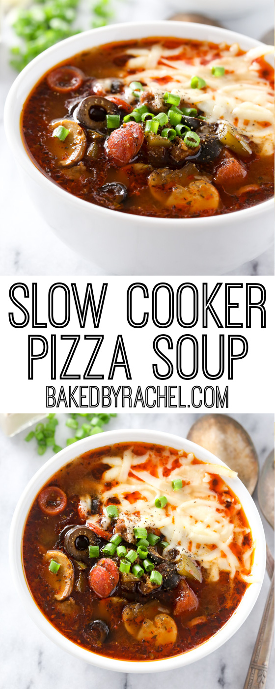 Super easy and comforting slow cooker pizza soup recipe from @bakedbyrachel This delicious soup features all of your favorite toppings from a traditional supreme pizza. A perfect meal to warm up with any night of the week and a fun addition to any game day menu!