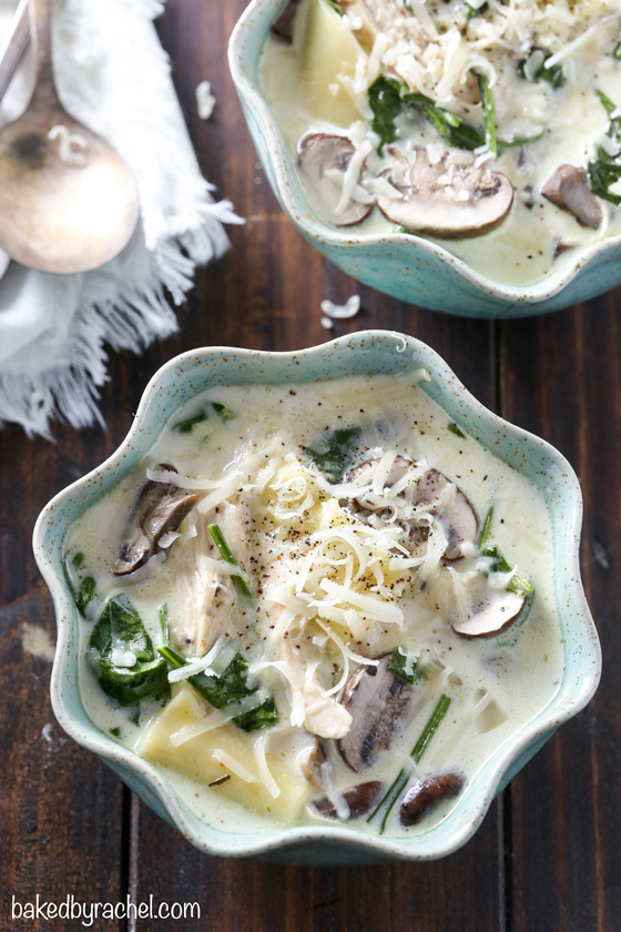 Easy and comforting slow cooker creamy white chicken lasagna soup with mushrooms and spinach recipe from @bakedbyrachel A perfect meal to warm up with all winter long!
