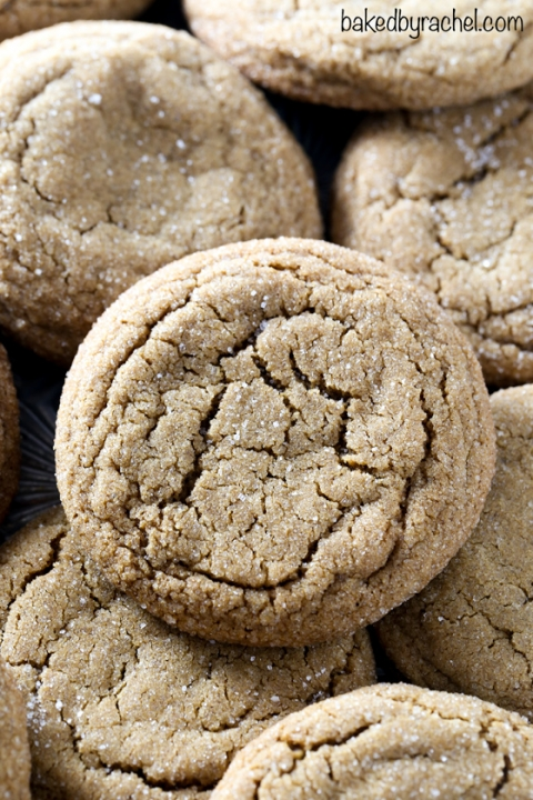 Classic soft and chewy spiced ginger molasses cookie recipe from @bakedbyrachel