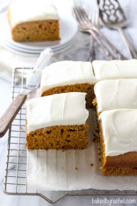The best single layer pumpkin cake with silky cream cheese frosting recipe from @bakedbyrachel